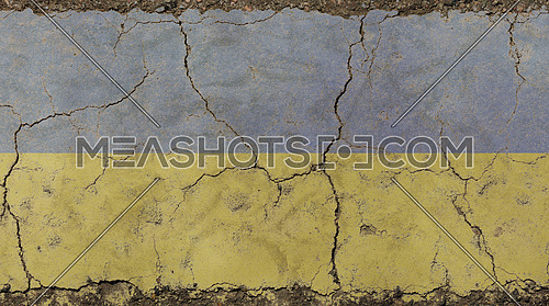 Old grunge vintage dirty faded shabby distressed Ukraine or Ukrainian republic national flag background on broken concrete wall with cracks