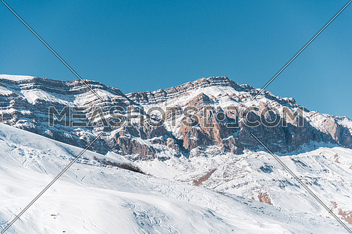 Winter mountains in Gusar region of Azerbaijan