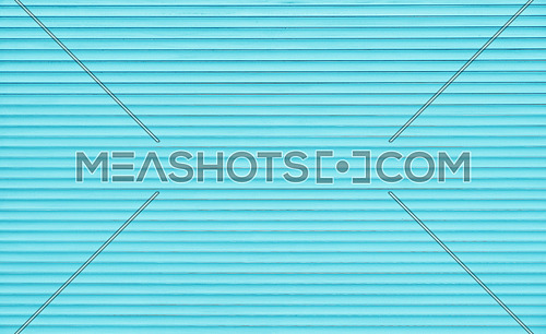 Background texture of teal blue color painted horizontal metal window roller shutter blinds