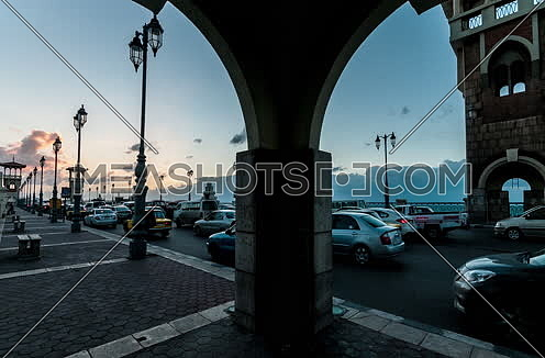 Tarck Left shot for traffic at Stanly Bridge Towers at Alexandria from Day to Night