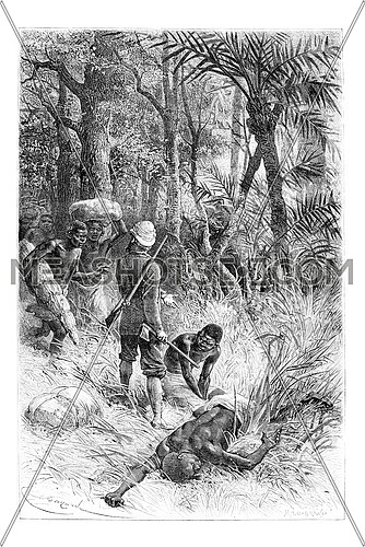 Ambouelan Hunter and His Wife and Children, in Angola, Southern Africa, drawing by Maillart based on the English edition, vintage illustration. Le Tour du Monde, Travel Journal, 1881