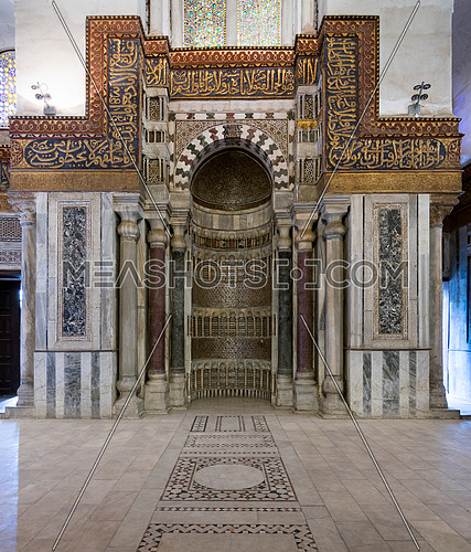 Ornate sculpted mihrab (niche) in  the cenotaph,mausoleum of Sultan Qalawun, Sultan Qalawun Complex built in 1285 AD, Al Moez Street, Old Cairo, Egypt