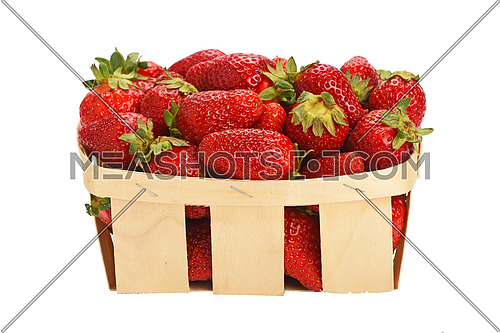 Wooden wicker basket full of mellow fresh red summer strawberries isolated on white background, side view