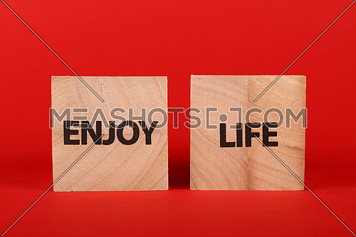 Close up two wooden cube signs with ENJOY LIFE words over red background with copy space, low angle side view