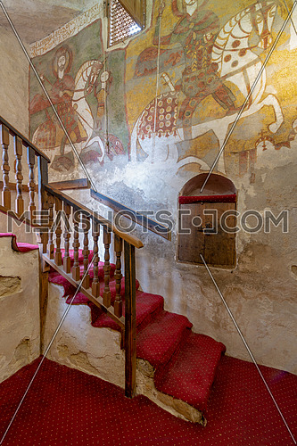 Wall with Coptic fresco paintings and staircase leading to the Church of St. Paul & St. Mercurius, Monastery of Saint Paul the Anchorite (aka Monastery of the Tigers), Egypt