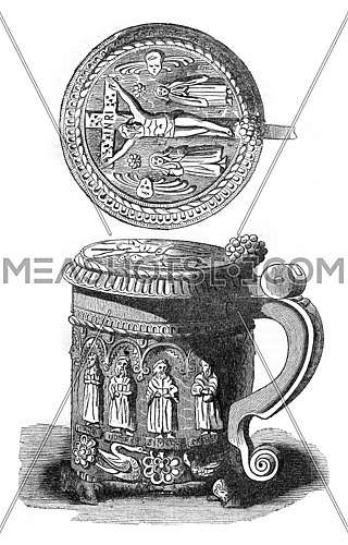 Cup found in the ruins of Glastonbury Abbey, vintage engraved illustration. Colorful History of England, 1837.
