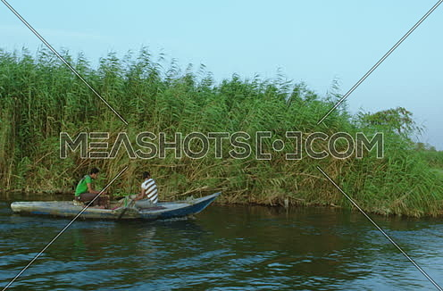 Follow shot for a boat sailing in The River Nile