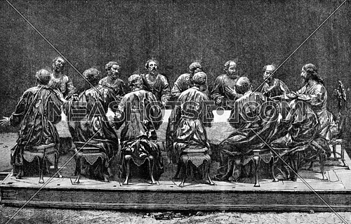 Bas-relief sculpture in the church of Jesus, in Murcia, vintage engraved illustration. Magasin Pittoresque 1873.