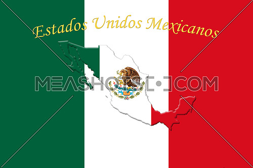 Mexican National Flag With Eagle Coat Of Arms and Text. Estados Unidos Mexicanos,  Meaning United Mexican States, 3D Rendering