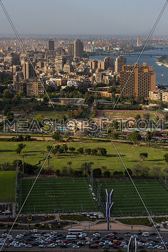 aerial view of modern Greater Cairo city downtown with Nile on a beautiful sunny day with blue sky and clouds capital of Egypt