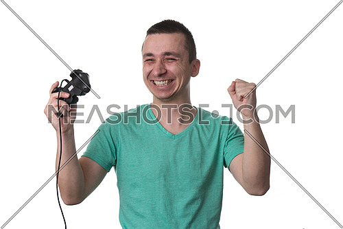Man Wearing A Green T-shirt And He Is Playing Video Games - Over White Background Isolated