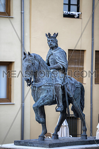 Sculpture of King Alfonso VIII in the Old Town of the city, work of the artist of Cuenca Javier Barrios, Cuenca, Spain