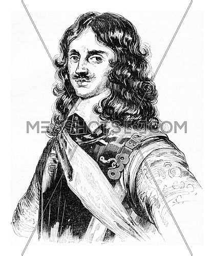 Portrait of Charles II, vintage engraved illustration. Colorful History of England, 1837.