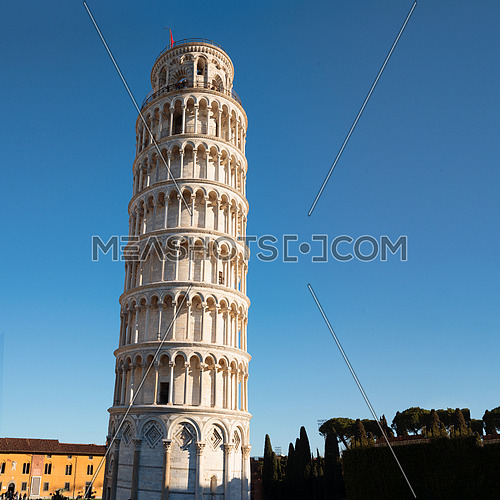 Leaning tower of Pisa, a Unesco world heritage site, Italy, square photo.