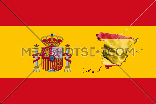 Spanish National Flag With Coat Of Arms and Map Of Spain 3D illustration