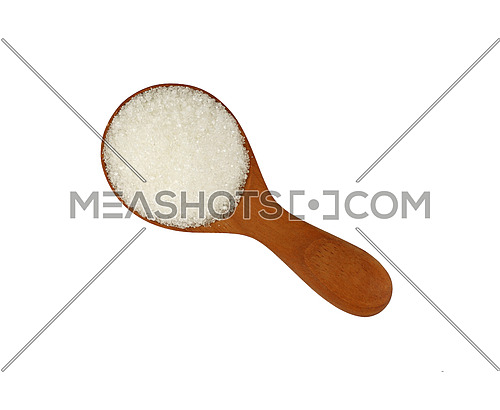 Close up one wooden scoop spoon full of white sugar isolated on white background, elevated top view, directly above