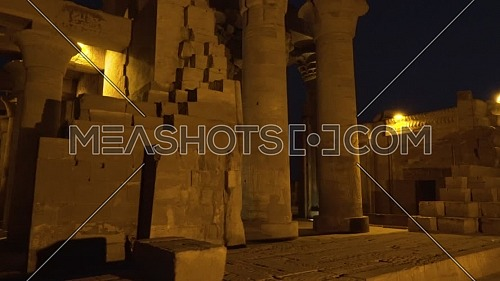 Reveal Shot for Temple of Kom Ombo - Aswan, Egypt. by night