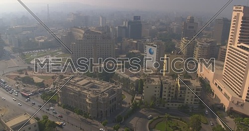 Reveal shot Drone for Kasr Al Nile Bridge starting from Tahrir Square at day