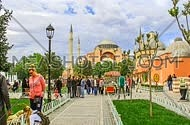 time laps shot showing Hajasophia and Sultan Ahmet Mosque in istanbul turkey