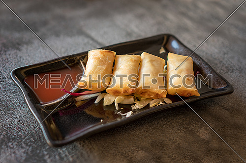 Fried spring rolls on black iron plate on grey stone slate background. side view,close up.