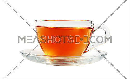 Close up one transparent glass cup of black tea on saucer isolated on white background, low angle side view