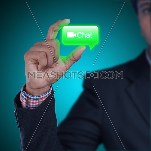 Man showing chat bubble in color background