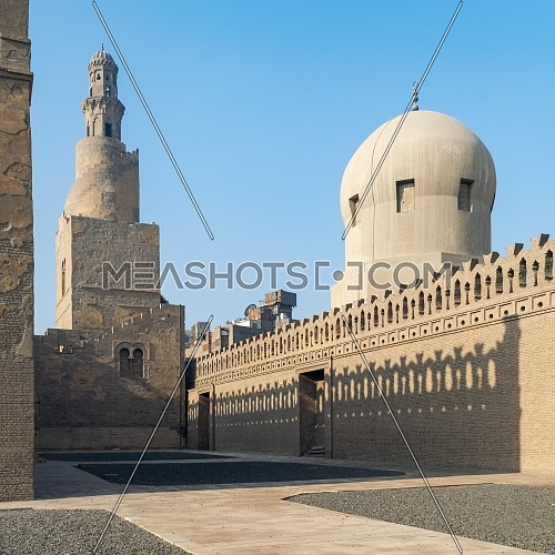 Minaret of minaret of and dome of Amir Sarghatmish mosque, Sayyida Zaynab district, Medieval Cairo, Egypt