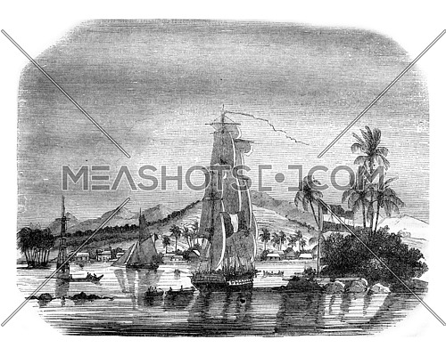 View of the Bay of Papeete and the island of the Queen, vintage engraved illustration. Magasin Pittoresque 1843.