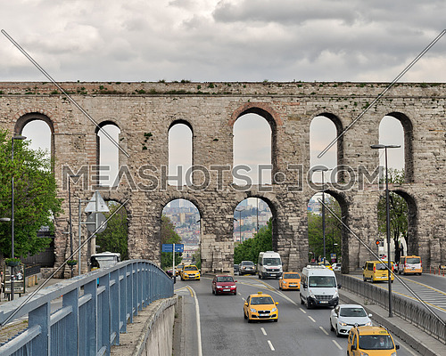 Istanbul, Turkey - April 21, 2017: Valens Aqueduct a Roman aqueduct which was the major water providing system of the Eastern Roman capital of Constantinople (Currently Istanbul)