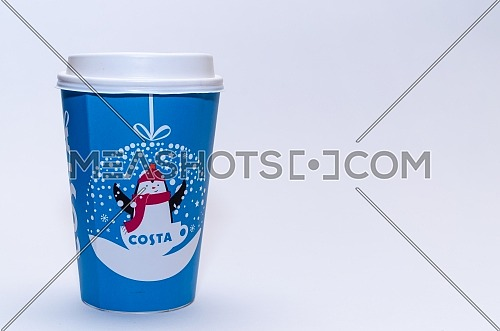 Paper cup from Costa Coffee in it's Christmas design. December 2018 in Cairo - Egypt.