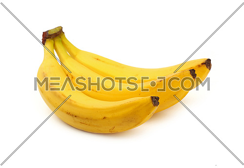 Bunch of three fresh yellow bananas isolated on white background, high angle view