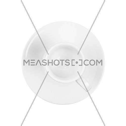 Empty white espresso coffee cup on saucer, isolated on white background, elevated top view, directly above
