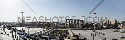 A panorama image of Luxor temple in the main square of Luxor city