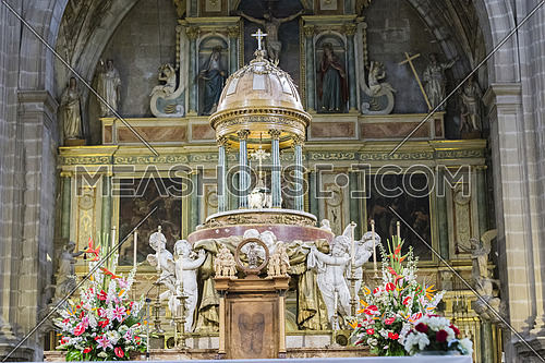 Jaen, Spain - may 2016, 2: High altar, center of the presbyterate, tabernacle bordered by four angels, the work of Pedro Arnal, custody made by Juan Ruiz, copy of the destroyed in the civil war, take in Jaen, Spain