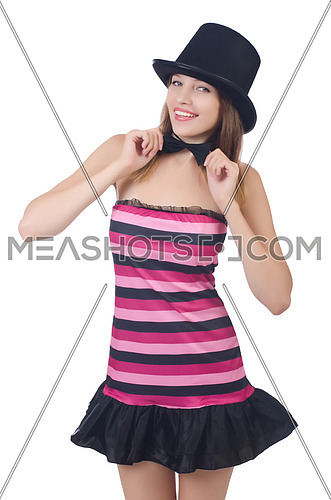 Glamour girl wearing hat isolated on white