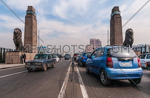 Zoom In medium Shot for Qasr Al Nile Bridge with the Lions at Day