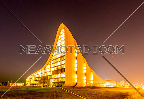 BAKU- JULY 20: Heydar Aliyev Center on July 20, 2015 in Baku, Azerbaijan. Heydar Aliyev Center won the Design Museum's Designs of the Year Award in 2014