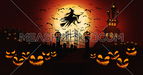 Halloween Pumpkins at Cemetery with Bats Flying and Witch Riding the Broom Against Full Moon Sky with Haunted Mansion in the Background