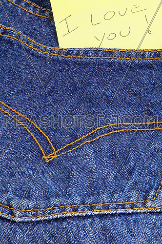 message I love you in a bluejeans pocket