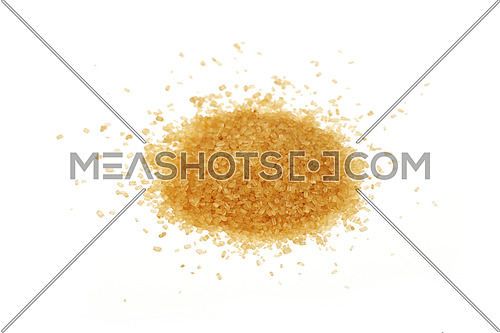 Pinch of brown cane sugar spilled around isolated on white background, close up, high angle view