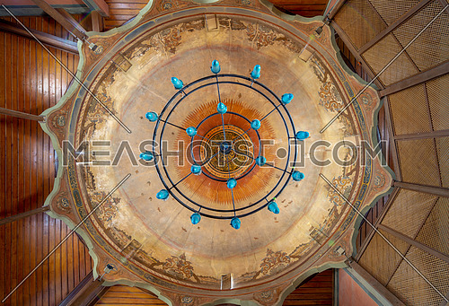 Ornate dome of Whirling Dervishes Ceremony hall at the Mevlevi Tekke, a meeting hall for the Sufi order and Whirling Dervishes, Cairo, Egypt