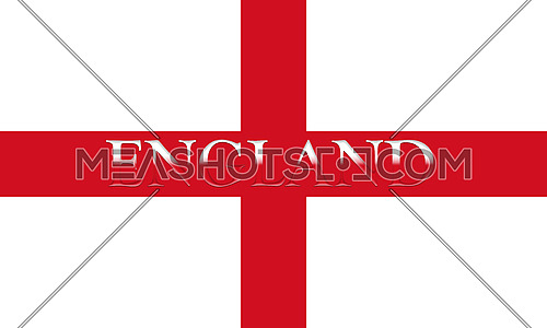 Flag of England With Country Name On It 3D illustration