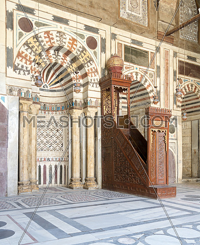 Interior Facade of Sultan Barquq Mosque, a historic mosque located in Al Moez Street, Cairo Egypt