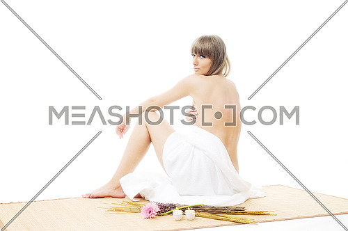 young beautiful woman  spa and beauty  treatment isolated on white