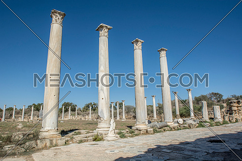 Ruins and columns of ancient Salamis city before rain on a coast of Mediterranean Sea on Cyprus island.