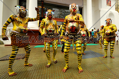 The tiger dance festival, Trissur, Kerala  is a colorful recreational folk art from the state of Kerala, India, 14-Aug-2010