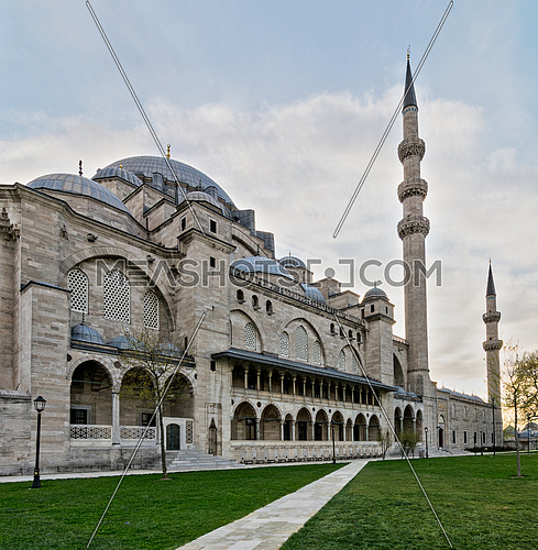 Exterior day angled shot of Suleymaniye Mosque, an Ottoman imperial mosque located on the Third Hill of Istanbul, Turkey, and the second largest mosque in the city. built in 1557