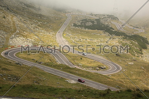 Curved Transfagarasan road from above, Romania