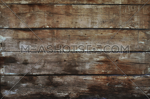 Old dark grunge vintage brown wooden panel texture background with horizontal unpainted aged planks, cracks, stains and gaps