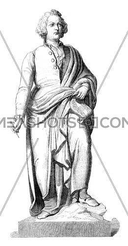 Mozart statue in bronze, after the model of Schwanthales has Saltsburg, vintage engraved illustration. Magasin Pittoresque 1845.